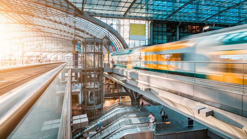 Modern railway train station at Berlin