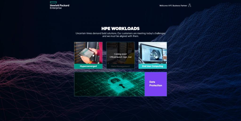 Captura de pantalla de HPE Worloads