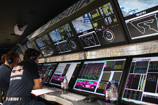 Red Bull Racing telemetry pit box and screens during practice for the Formula One Bahrain Grand Prix on 18 April 2015 at the Bahrain International Circuit in Sakhir, Bahrain. (Photo by Rainer W. Schlegelmilch/Getty Images)