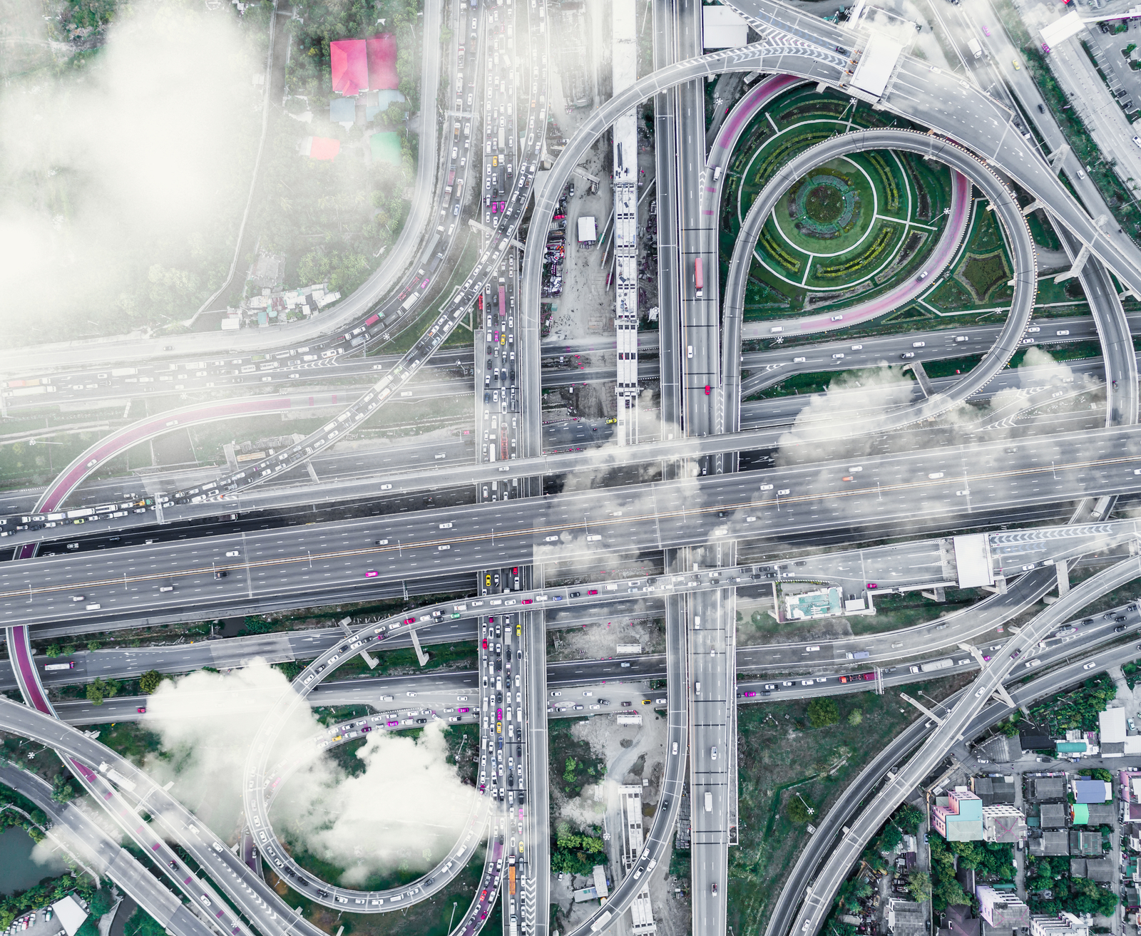 Beautiful Aerial Thailand top view expressway road with cloud and fog