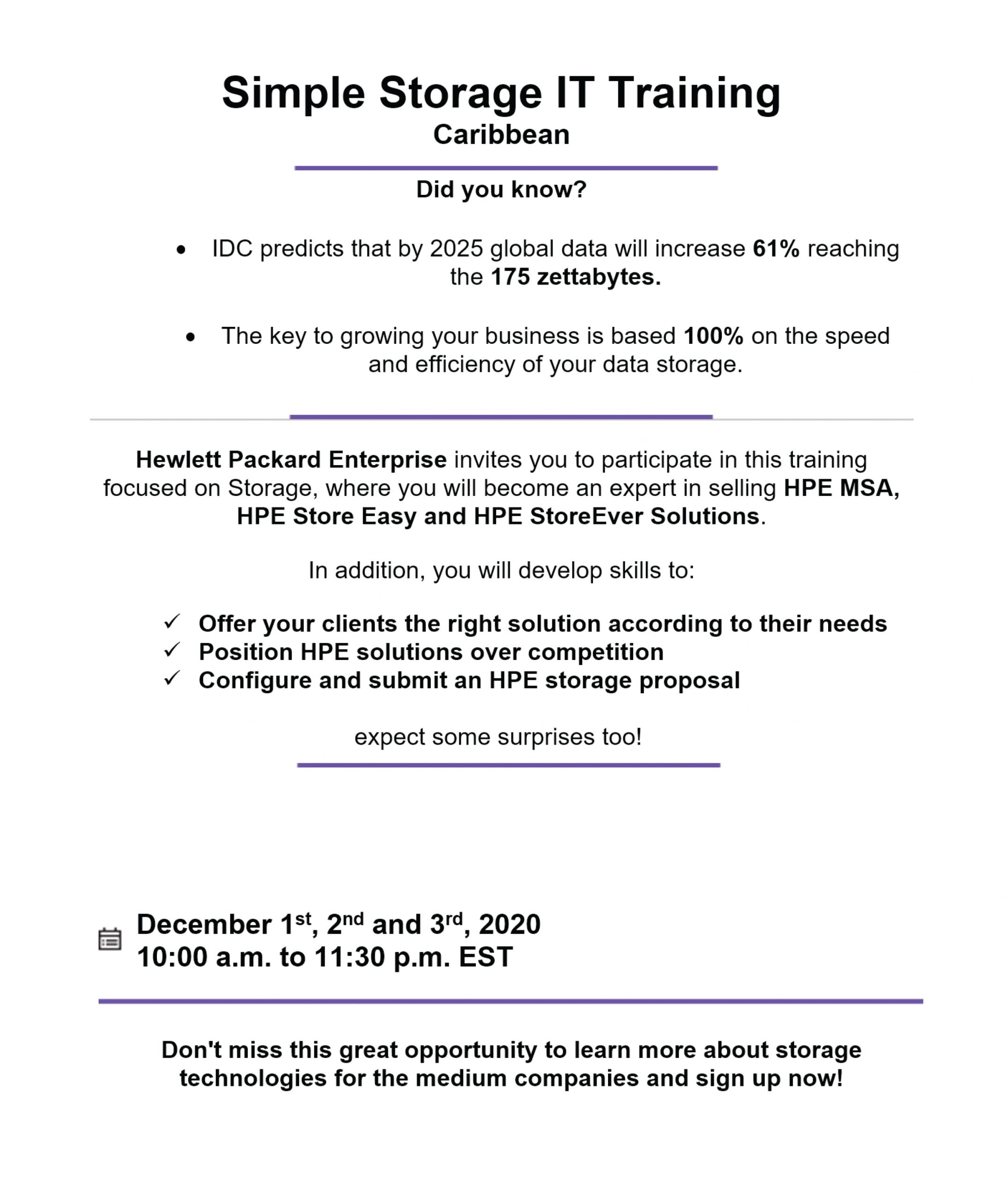 HPE Simple IT Storage Training.